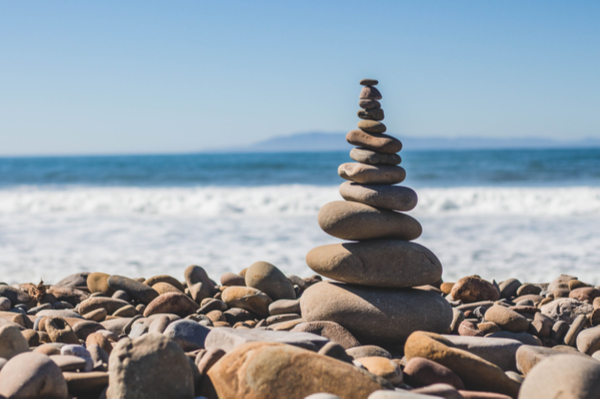 stack of pebbles at the seaside