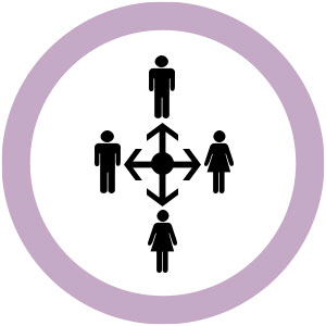 two male and two female icons with arrows in the middle as a cross