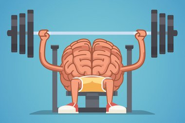 icon of brain with arms weight training