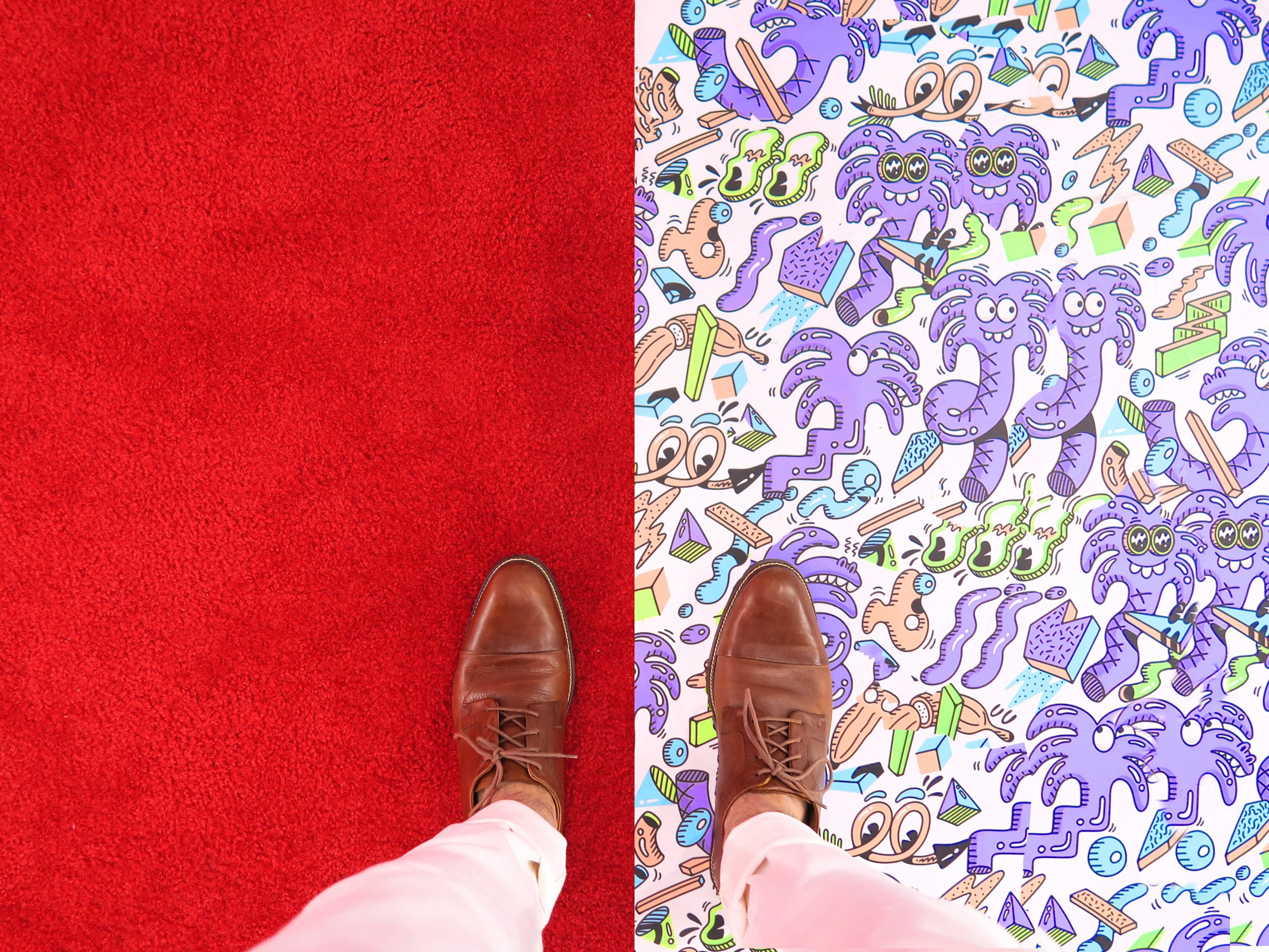 leather shows on a red carpet and carpet with elephants on it