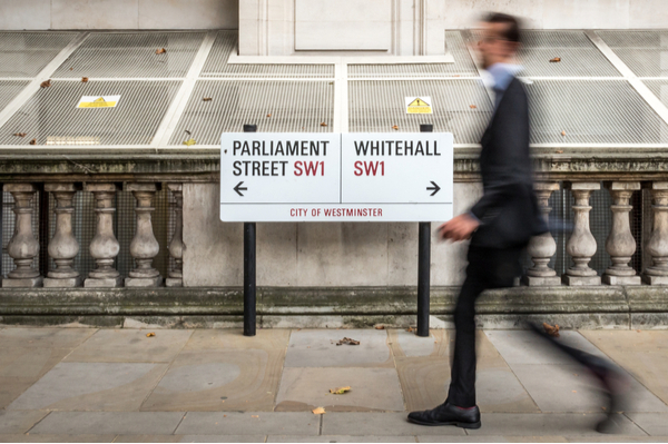 Signboard showing on the left parliament street and on the right whitehall