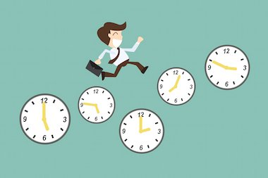 Person jumping on many clocks