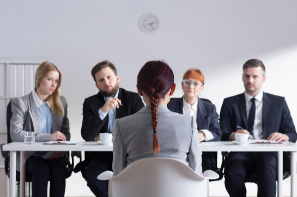A girl in a interview