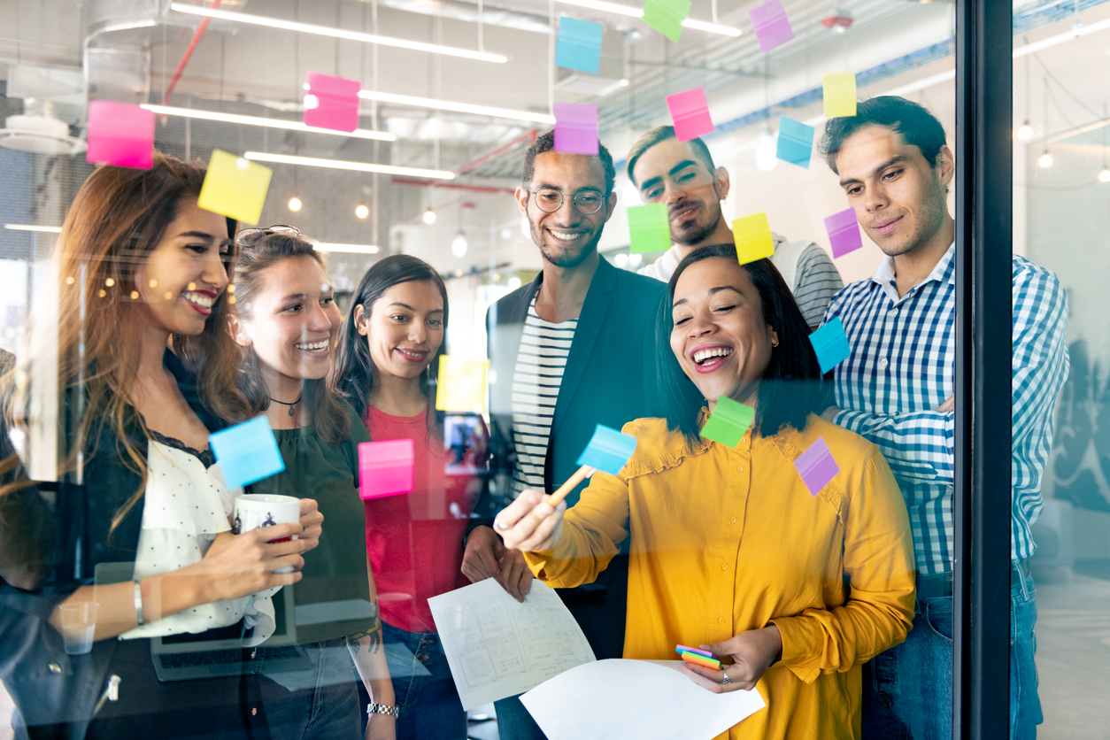 Group with sticky notes