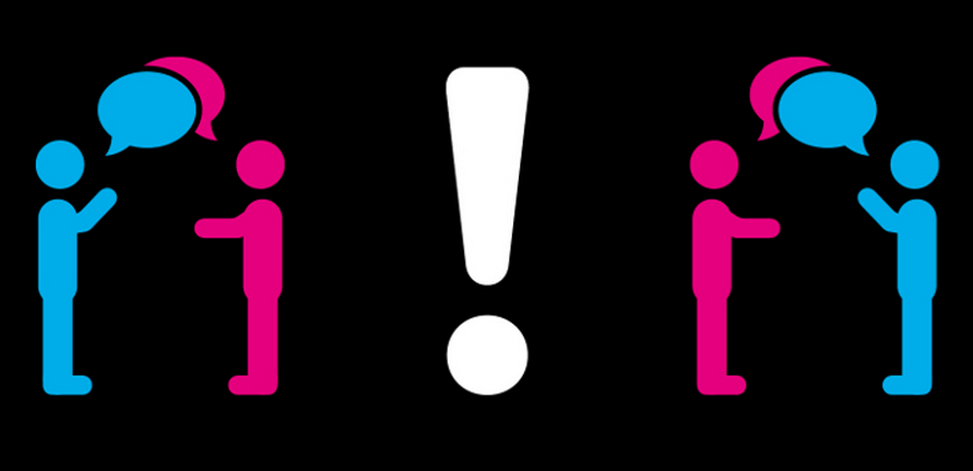 icon of people having conversation and a warning exclamation mark
