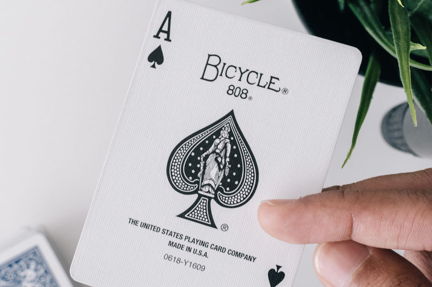 playing card with the word bicycle on it