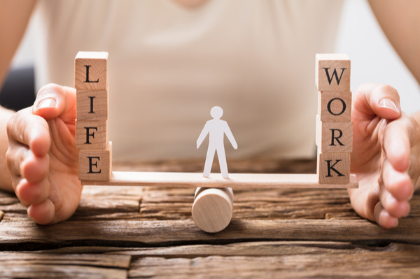 scale showing balance between work and life