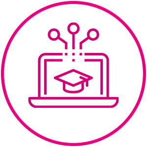 Laptop with Mortarboard Icon