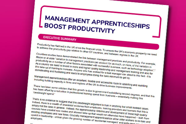 Cover of the Management Apprenticeships Boost Productivity Document