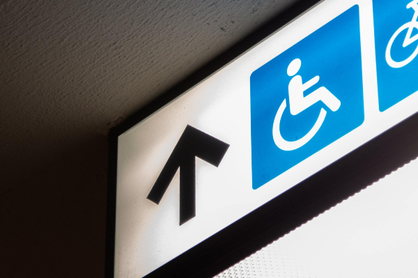 disability sign image on a ceiling