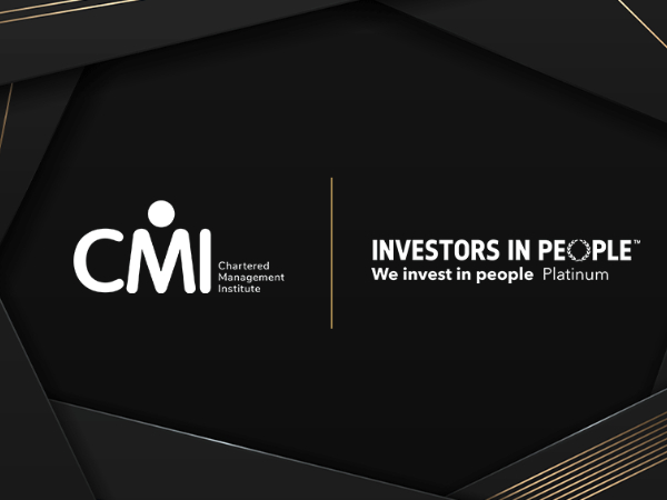 CMI logo and Investors in People logo on a black background