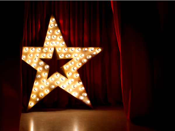 lit up star on a stage