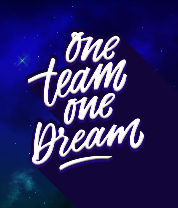 tagline in italics saying one team one dream