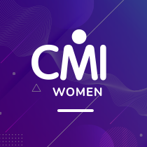 CMI women logo on violet background