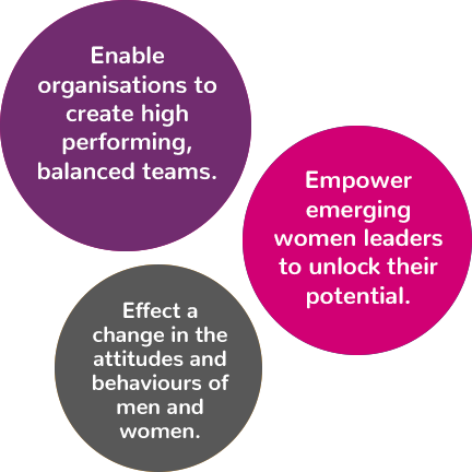 Bubbles reading: Enable organisations to create high performing, balanced teams; Empower emerging women leaders to unlock their potential; Effect a change in the attitudes and behaviours of men and women.