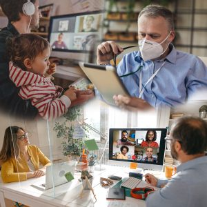 composite image of the different ways that management and working life have changed
