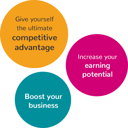 Give yourself the ultimate competitive advantage, Increase your earning potential and Boost your business