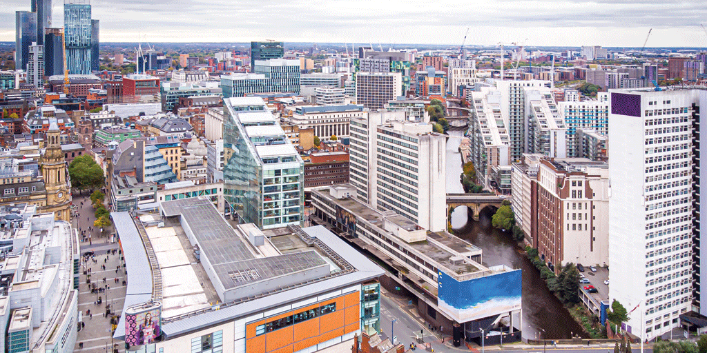 view of manchester city office blocks