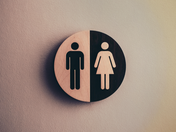 Black and white sign of genders