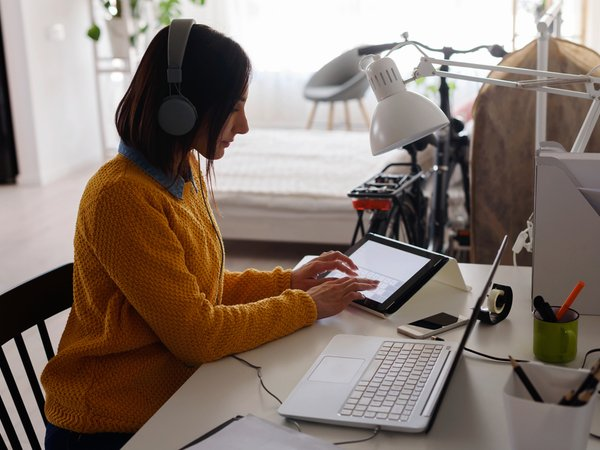Woman working from home on a laptop
