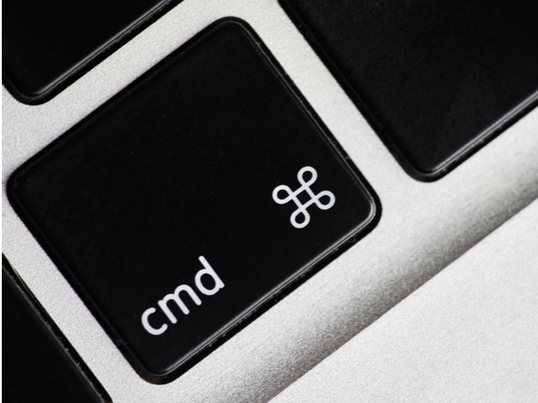 Close-up of the 'command' button on a keyboard