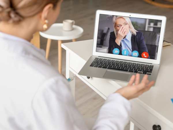 Two people talking deeply on a video call