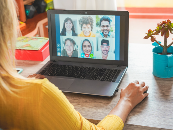 Diverse team on a video call