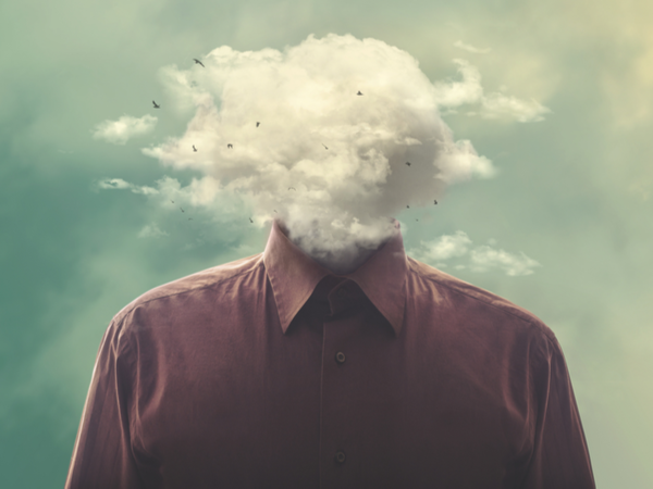 Person with cloud instead of a head