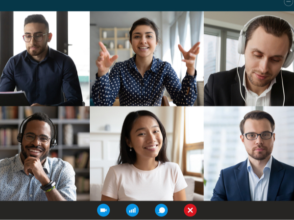 Six people of different ethnicities collaborating on a work video call