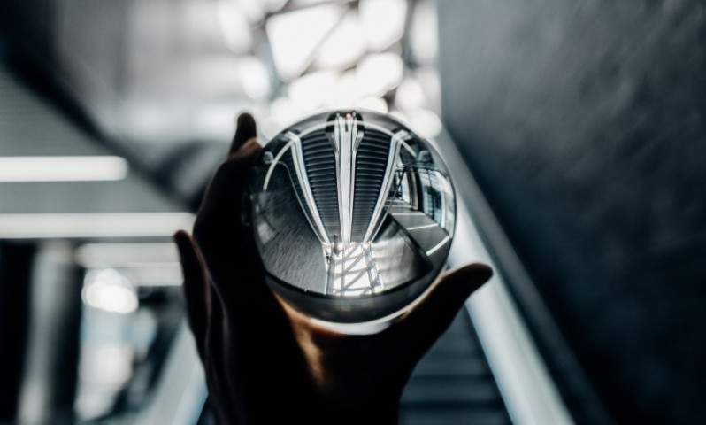 Crystal Ball altering view of stairs