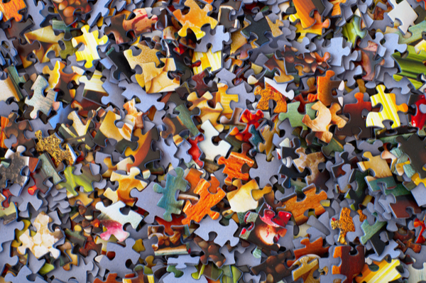 Scattered jigsaw pieces