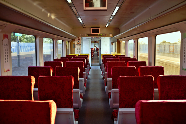 The inside of an empty train carriage