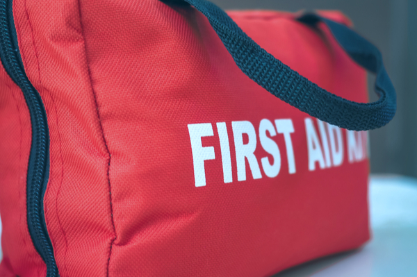 A red first aid bag