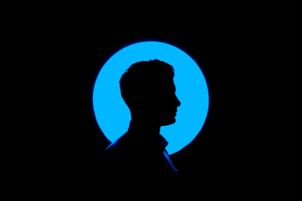 Silhouette of a person's head