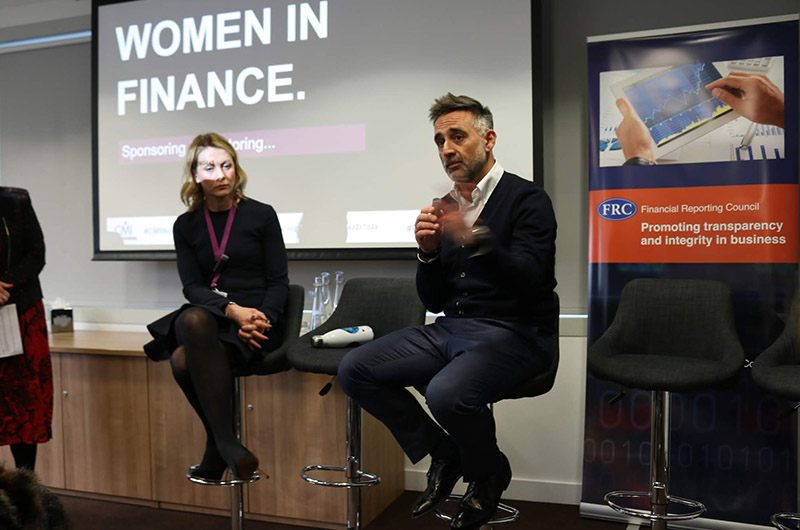Sky UK COO Chris Stylianou speaking at the CMI Women event about women in finance.