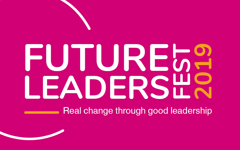 Future Leaders Festival logo on a pink background
