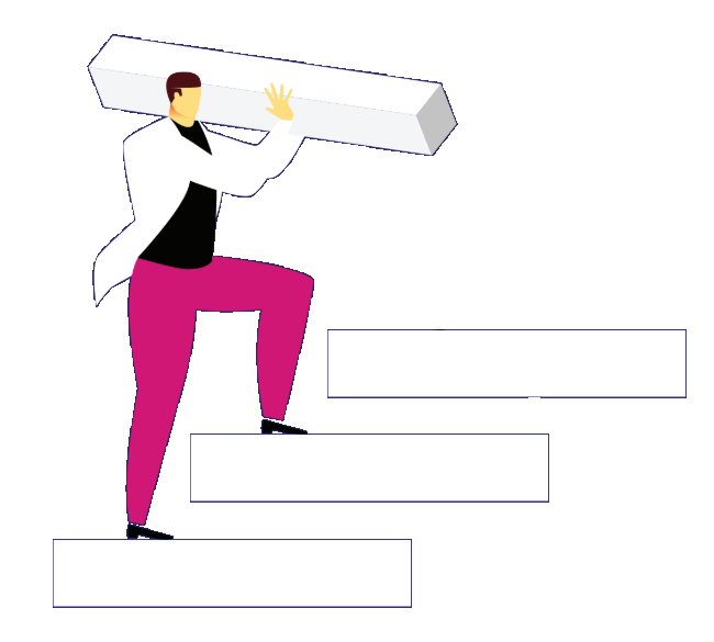 Man climbing stairs with heavy cuboid